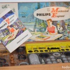 Juegos construcción - Meccano: AÑOS 60 - PHILIPS MECHANICAL ENGINEER ME 1200 - JUEGO EDUCATIVO - VINTAGE - ¡MIRA FOTOS/DETALLES!. Lote 179958607