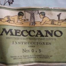 Juegos construcción - Meccano: MECCANO. MUY ANTIGUO CATÁLOGO INSTRUCCIONES. EQUIPOS 0 A 3. Lote 218357363