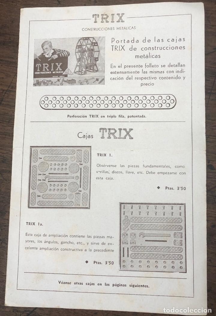 Juegos construcción - Meccano: JUEGO TRIX CONSTRUCCIONES METALICAS. CONSERVA FOLLETO, 3 HOJAS DE MODELOS Y PIEZAS (VER FOTOS) - Foto 4 - 261797455