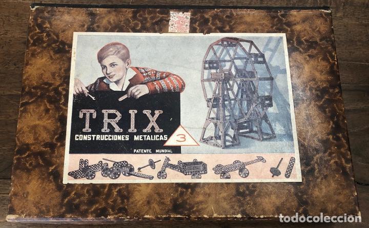 JUEGO TRIX CONSTRUCCIONES METALICAS. CONSERVA FOLLETO, 3 HOJAS DE MODELOS Y PIEZAS (VER FOTOS) (Juguetes - Construcción - Meccano)