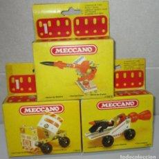Juegos construcción - Meccano: LOTE 3 CAJAS MECCANO, BASE DE MISILES, VEHÍCULO LUNAR, HORMIGONERA, MADE IN SPAIN P.B.P. 1981. Lote 268784714