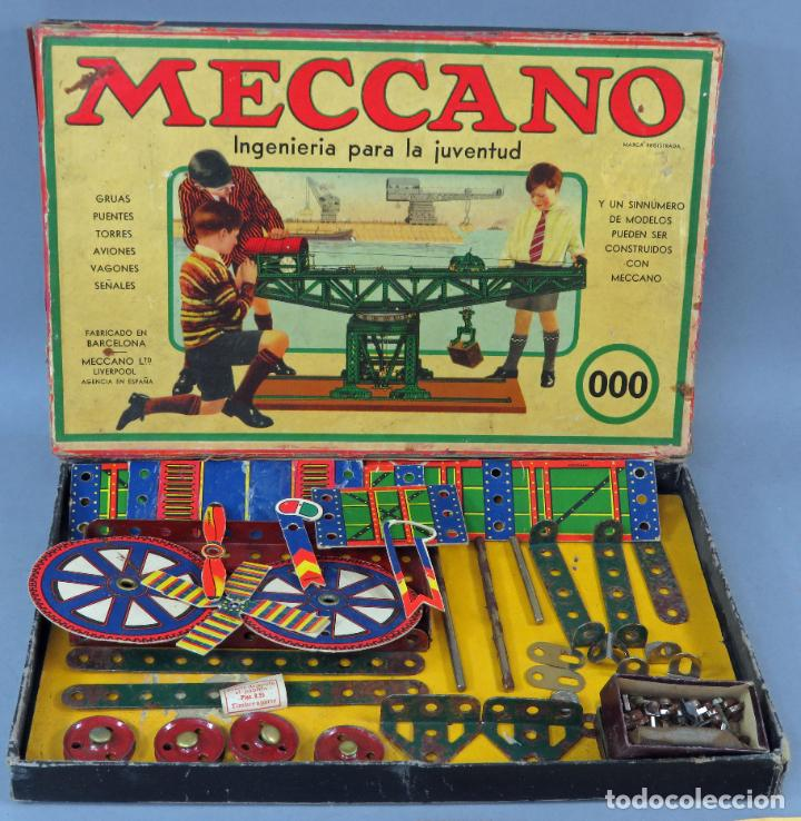 Juegos construcción - Meccano: Meccano 000 caja Ingenieria construcción Fabricado Barcelona instrucciones catálogo años 30 - Foto 2 - 269656068