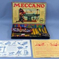 Juegos construcción - Meccano: MECCANO 000 CAJA INGENIERIA CONSTRUCCIÓN FABRICADO BARCELONA INSTRUCCIONES CATÁLOGO AÑOS 30. Lote 269656068