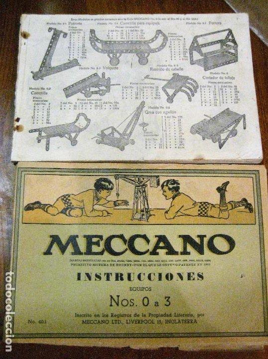 2 CATALOGO MECCANO Nº 40.1 EQUIPOS 0 A 3 Y EL OTRO REPETIDO SIN TAPAS . INSTRUCCIONES (Juguetes - Construcción - Meccano)