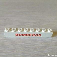 Juegos construcción - Tente: TENTE BLOQUE 1X8 SERIGRAFIA BOMBEROS BLANCO. Lote 98737631