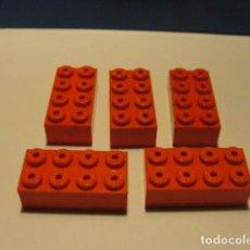 Juegos construcción - Tente: LOTE 5 LADRILLO 2X4 ROJO TENTE. Lote 140162618