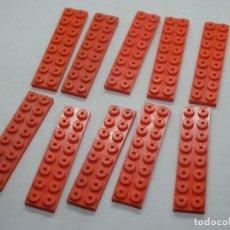 Juegos construcción - Tente: TENTE PLACA 8X2 ROJO 10 UNIDADES. Lote 177745449
