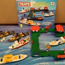 Juegos construcción - Tente: LOTE TENTE- PUERTO PESQUERO + BUQUES GUERA + CAJA PORTAAVIONES. Lote 147715558