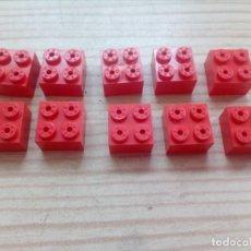 Juegos construcción - Tente: LOTE 10 PIEZAS TENTE ROJO BLOQUE 2X2. Lote 157772550