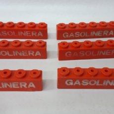 Juegos construcción - Tente: LOTE PIEZAS ROJAS CARTEL GASOLINERA 1X6 ANCHAS TENTE. Lote 180078932