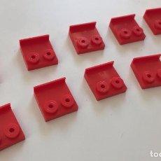 Juegos construcción - Tente: 10 PLACA 2X2 BARANDILLA ROJO EXIN. COMPATIBLE 100% CON TENTE. Lote 254564700
