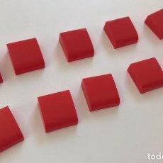 Juegos construcción - Tente: 10 PLACAS 2X2 GORDA LISA ROJO EXIN. COMPATIBLE 100% CON TENTE. Lote 254564940