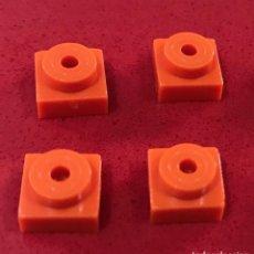 Juegos construcción - Tente: 4 PLACAS 1X1 TETÓN NARANJA. COMPATIBLE CON TENTE. Lote 257717850