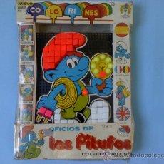 Juegos educativos: ORIGINAL COLORINES PITUFOS-THE SMURFS- ELECTRICISTA DE JUGUETES PIQUÉ.SIN USO ,AÑO 1983.UNICO EN TC.. Lote 28876710