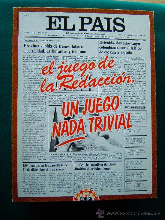 EL PAIS EL JUEGO DE LA REDACCION UN JUEGO NADA TRIVIAL - EDUCA - 39X29X7 CM - COMPLETO - AÑO 1985. (Juguetes - Juegos - Educativos)
