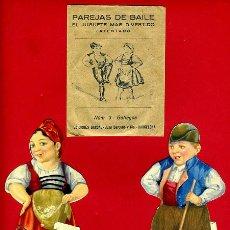 Juegos educativos: CROMOS TROQUELADOS, PAREJAS DE BAILE, JUEGO , Nº 3 GALLEGOS CON SOBRE , ORIGINAL, C2. Lote 39249514