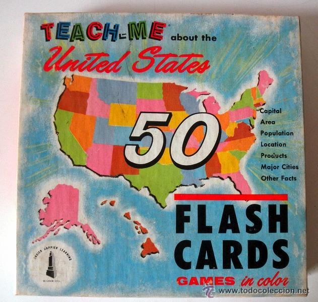 AÑO 1962 * TEACH - ME * ABOUT THE UNITED STATES * FLASH CARDS * 1962 (Juguetes - Juegos - Educativos)
