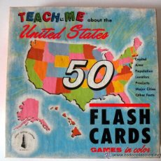 Juegos educativos: AÑO 1962 * TEACH - ME * ABOUT THE UNITED STATES * FLASH CARDS * 1962. Lote 41766779
