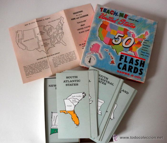 Juegos educativos: AÑO 1962 * TEACH - ME * ABOUT THE UNITED STATES * FLASH CARDS * 1962 - Foto 2 - 41766779