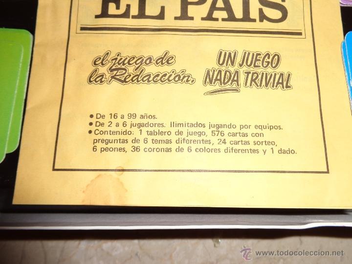 Juegos educativos: EL PAIS - EL JUEGO DE LA READACCIÓN, UN JUEGO NADA TRIVIAL AÑO 1985 COMPLETO, 111-1 - Foto 7 - 42378079