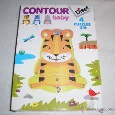 Juegos educativos: PUZZLE INFANTIL CONTORNO DE MADERA 4 PUZZLES DE 3 PIEZAS DISET ARTICULO NUEVO. Lote 46654503