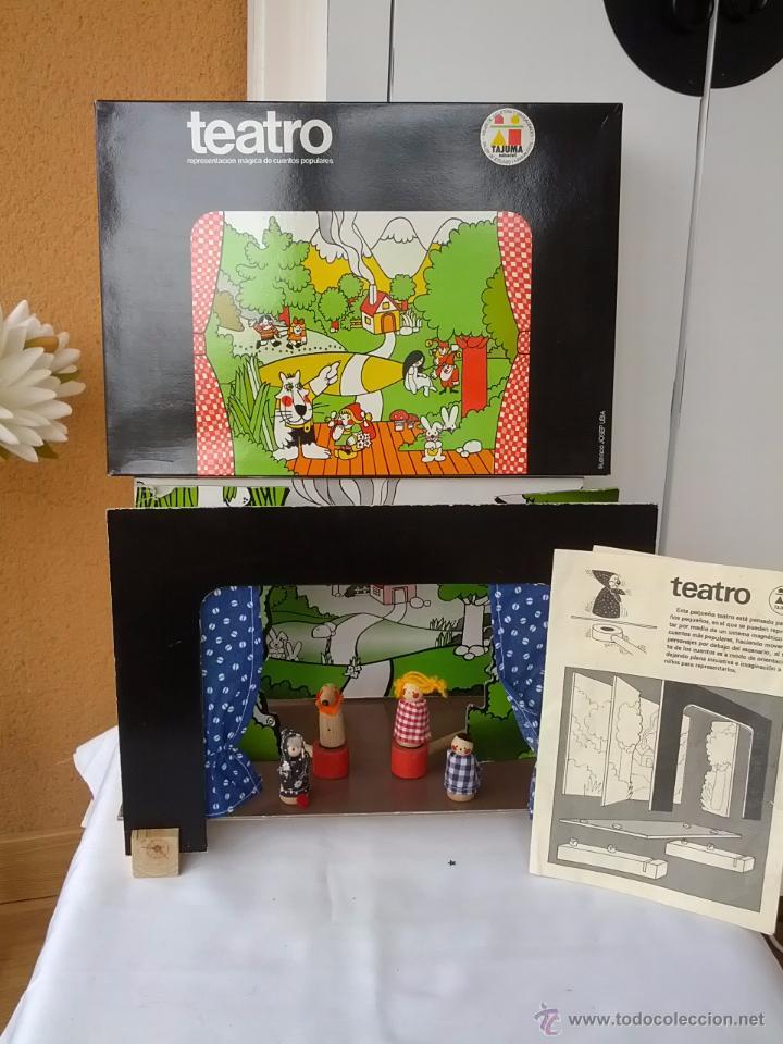 PRECIOSO TEATRO DE TAJUMA DE MADERA DESMONTABLE AÑOS 70 COMPLETO Y EN SU CAJA DE ORIGEN (Juguetes - Juegos - Educativos)