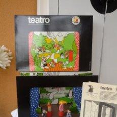Juegos educativos: PRECIOSO TEATRO DE TAJUMA DE MADERA DESMONTABLE AÑOS 70 COMPLETO Y EN SU CAJA DE ORIGEN . Lote 50419890