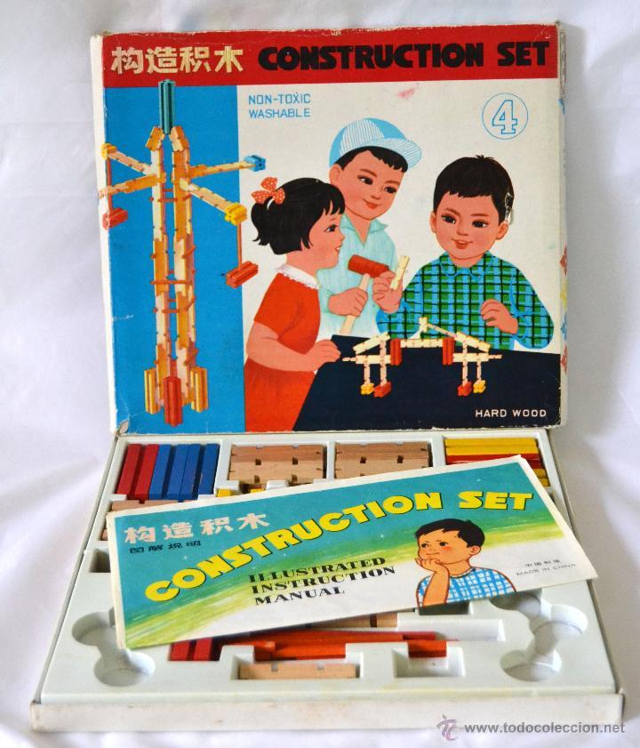 Juegos educativos: JUEGO DE CONSTRUCCION ANTIGUO * CONSTRUCTIONS SET MADE IN CHINA * MADERA * MUY RARO - Foto 6 - 52368177