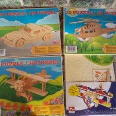 Juegos educativos: 4 PUZZLES DE MADERA 3D COCHE HELICÓPTERO Y 2 AVIONETAS A ESTRENAR 23/19 CM 21/16 PUZLE PARA MONTAR. Lote 53815906