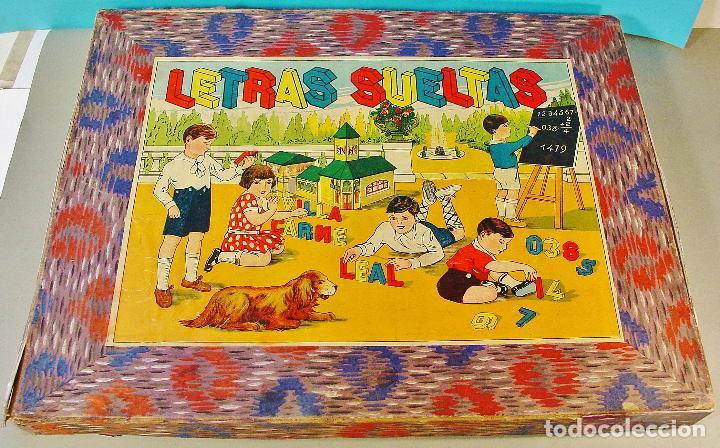 """"""" LETRAS SUELTAS """" - JUEGO INFANTIL CON LETRAS Y NÚMEROS DE MADERA. AÑOS 30. (Juguetes - Juegos - Educativos)"""