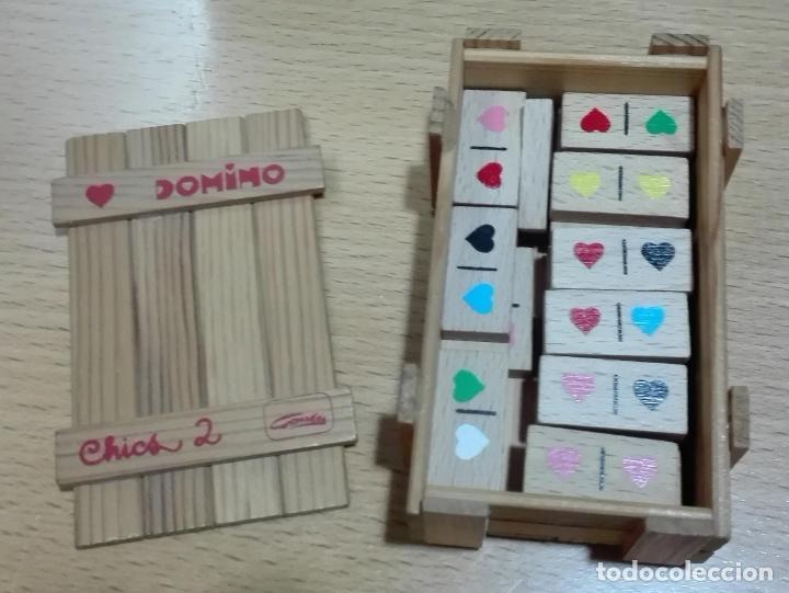 Juegos educativos: ANTIGUO MINI JUEGO DOMINO MADERA CORAZONES COLORES GOULA EN CAJA MADERA - Foto 2 - 72153843