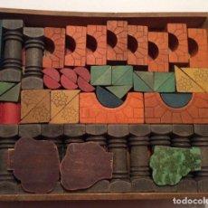 Juegos educativos: JUEGO DE PIEZAS DE CONSTRUCIÓN DE MADERA ANTIGUO.. Lote 76536227