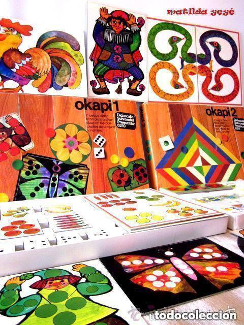 DOS ANTIGUOS JUEGOS EDUCATIVOS OKAPI 1 Y OKAPI 2 1976 - 1977 JUEGOS PARA NIÑOS DE PREESCOLAR (Juguetes - Juegos - Educativos)
