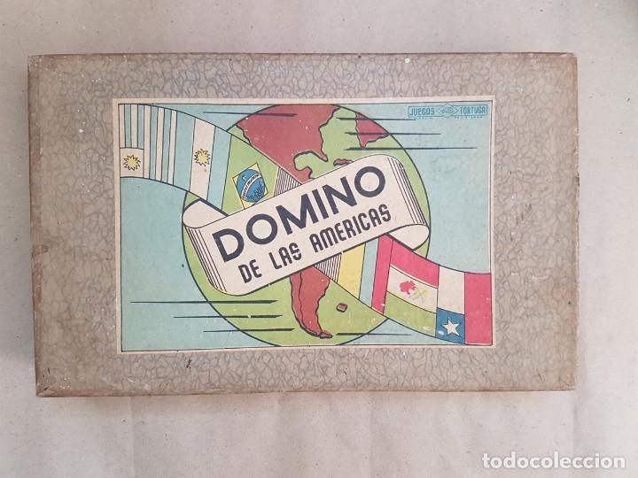 DOMINÓ DE LAS AMÉRICAS - JUEGO DE MESA - AÑOS 60 - COMPLETO (Juguetes - Juegos - Educativos)