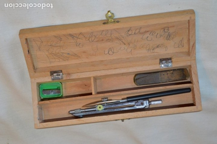 Juegos educativos: Antiguo plumier, tipo cajita de madera, preciosa imagen infantil, años 50/60 ¡Mira fotos y detalles! - Foto 3 - 178665353