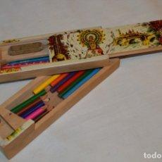 Juegos educativos: ANTIGUO PLUMIER, TIPO CAJITA DE MADERA, ZARAGOZA / VIRGEN DEL PILAR, AÑOS 50/60 ¡MIRA DETALLES!. Lote 178666561