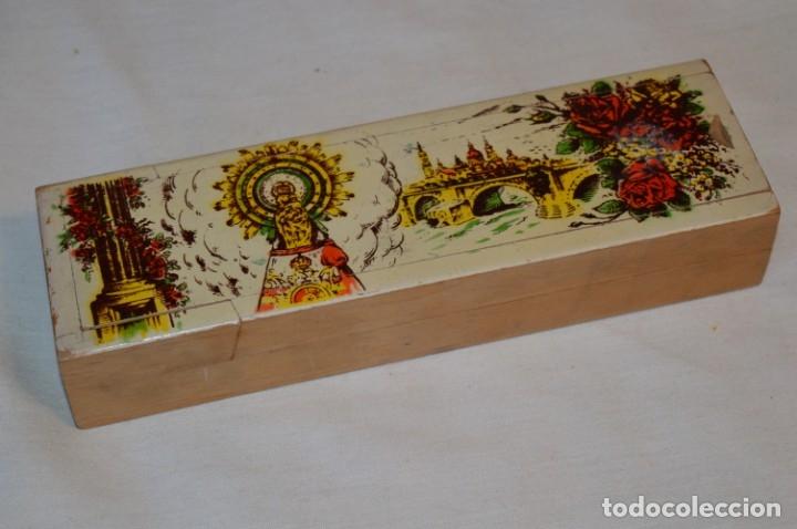 Juegos educativos: Antiguo plumier, tipo cajita de madera, Zaragoza / Virgen Del PILAR, años 50/60 ¡Mira detalles! - Foto 2 - 178666561