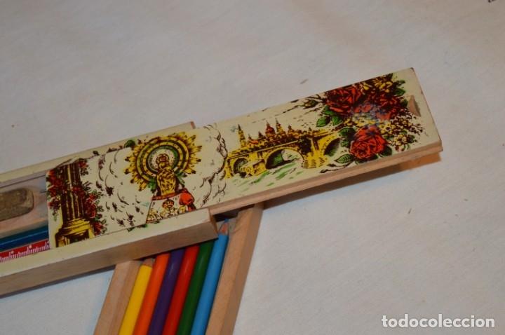 Juegos educativos: Antiguo plumier, tipo cajita de madera, Zaragoza / Virgen Del PILAR, años 50/60 ¡Mira detalles! - Foto 5 - 178666561