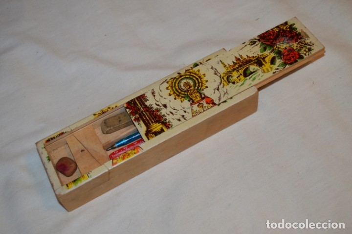 Juegos educativos: Antiguo plumier, tipo cajita de madera, Zaragoza / Virgen Del PILAR, años 50/60 ¡Mira detalles! - Foto 6 - 178666561