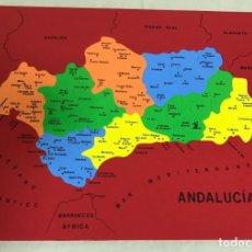 Juegos educativos: PAREJA DE PUZZLES/MAPA DE AMÉRICA DEL SUR Y ANDALUCÍA, EN GOMA EVA. 38X32,5. A ESTRENAR. Lote 194082381