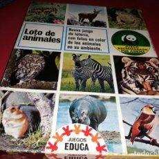 Juegos educativos: LOTO DE ANIMALES . EDUCA. FABRICADO EN ESPAÑA POR HERMANOS SALLENT 1967. Lote 197191376