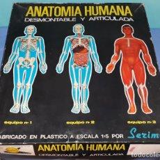 Juegos educativos: ANTIGUA CAJA GRANDE ANATOMIA HUMANA CON LOS TRES EQUIPOS DE SERIMA ORIGINAL AÑOS 70. Lote 206149011
