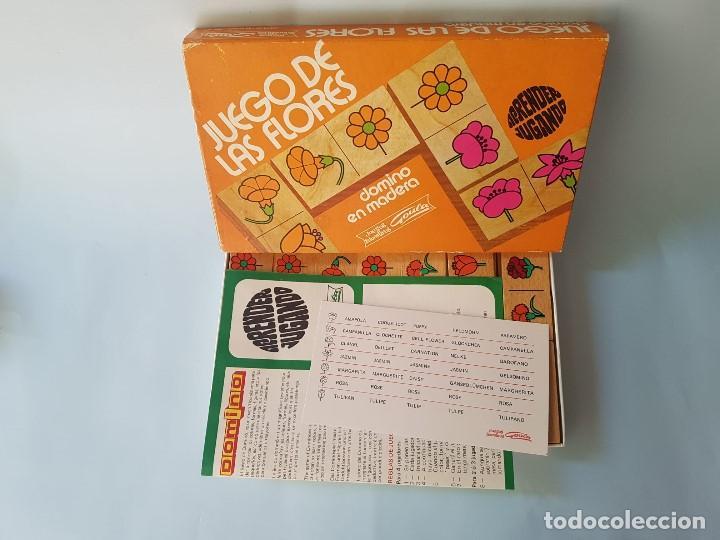 DOMINÓ EN MADERA HECHO A MANO- JUEGO DE LAS FLORES - GOULA - AÑOS 70 (Juguetes - Juegos - Educativos)