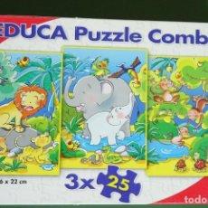 Juegos educativos: PUZZLE EDUCA COMBI 3 X 25 PIEZAS ANIMALES DE LA SELVA. Lote 240841915