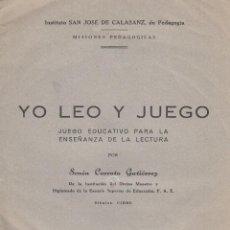 Juegos educativos: YO LEO Y JUEGO. JUEGO EDUCATIVO PARA LA ENSEÑANZA DE LA LECTURA POR SENÉN CORROTO GUTIÉRREZ. Lote 247295450
