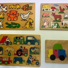 Juegos educativos: LOTE DE 4 PUZZLES EDUCATIVOS DE MADERA. AÑOS 70.. Lote 266897644