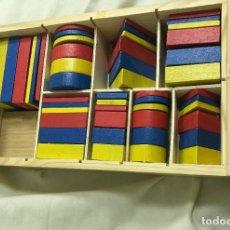 Juegos educativos: CAJA DE BLOQUES LÓGICOS CON 48 PIEZAS GEOMÉTRICAS EN MADERA.18X30. A ESTRENAR. Lote 276722963