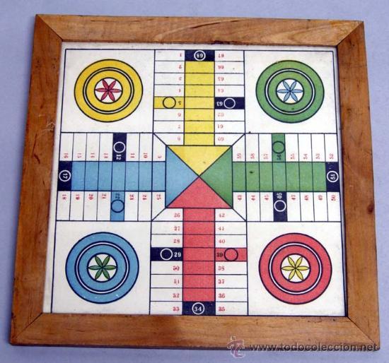 TABLERO PARCHÍS CARTÓN Y MADERA AÑOS 60 (Juguetes - Juegos - Juegos de Mesa)