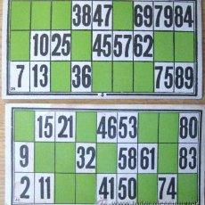 Juegos de mesa: DOS CARTONES ANTIGUOS DEL JUEGO DE LA LOTERIA.... ENVIO GRATIS¡¡¡. Lote 22353758