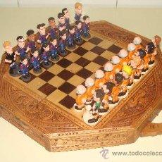 Juegos de mesa: BONITO AJEDREZ DEL FÚTBOL CLUB BARCELONA. AÑOS 90. KOEMAN RIVALDO. TABLERO TALLADO MADERA.. Lote 29279353